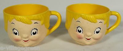 PAIR CAMPBELL'S SOUP KIDS HEAD PLATIC MUG Child Cup Bowl 1970s Dolly Dingle Face