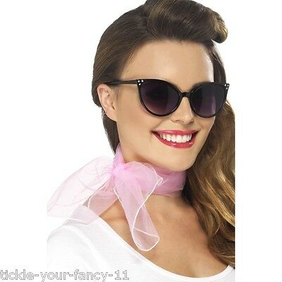 Womens Ladies 50's Neckscarf Pink Rock n Roll Fancy Dress Grease Neck Scarf Fun