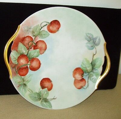 Vintage Hand-Painted Limoges Roundish Platter with Cherries and Two Handles