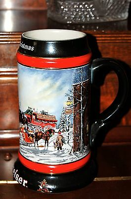 "Budweiser Holiday 1992 Collector's Series Beer Stein / Mug ""A Perfect Christmas"""