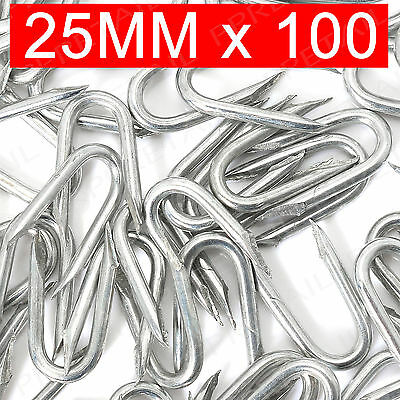100 x 25mm U Nails Netting Staples - GALVANISED - Fencing Post Chicken Wire Mesh