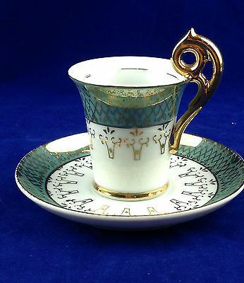 demitasse cup and saucer made in japan green white gold fancy handle MIJ
