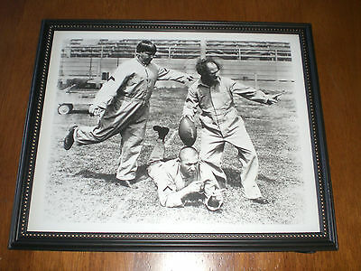 Three Stooges Playing Football Framed B&w 8X10