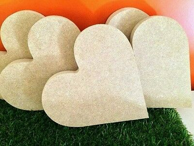 5 x  MDF Free Standing Heart 18mm thick 15cm length