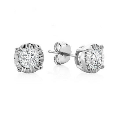 0.15 Carat Natural Diamond Miracle Stud Earrings In Sterling Silver