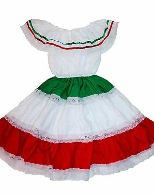 Girls Tricolor Gypsy Peasant Mexican Lace Dress Cinco De Mayo Fiesta