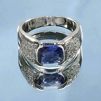 Wholesale Lot 4 Pc Classic Sterling Silver Blue Tanzanite CZ Size 8 Rings
