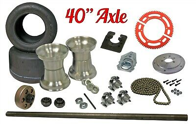 "Drift Trike 40"" Axle Kit w/ Tires Rims & Clutch #35 Chain Sprocket Part Package"