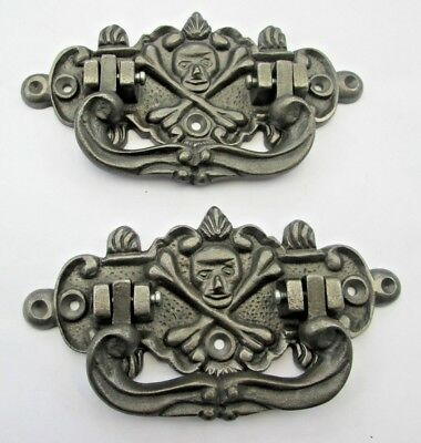 2 X Cast Iron Antique Style Coffin Chest Lifting Handles Skull &crossbones