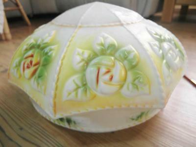 Rare VINTAGE Glass CEILING Light SHADE Milky FLORAL Bedroom PRETTY Adelaide QZZQ