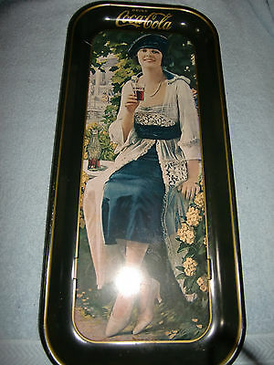 Coca-Cola Tray, Girl Sitting On Bench/flowers, Vintage 1973