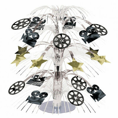"18"" Hollywood Party Movie Camera Reel Foil Cascade Table Centerpiece Decoration"