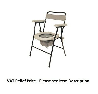 Lightweight Folding Commode Chair - Perfect For Bedroom Use - VAT Relief App.