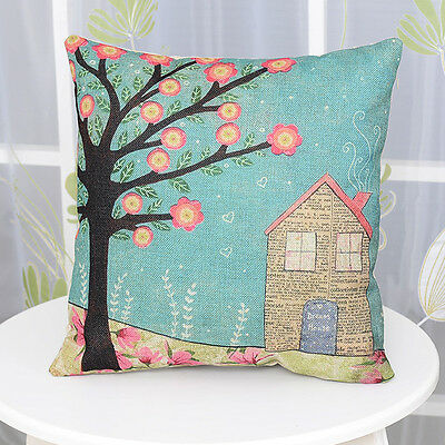 Vintage Linen Cotton Couch Sofa Cushion Cover Throw Pillow Case -Home 45 X 45 cm