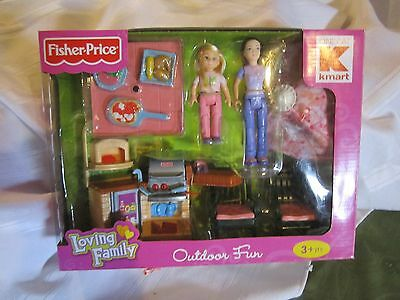 NEW Fisher Price Loving Family Outdoor Fun 2 figures & DollHouse pieces Barbecue