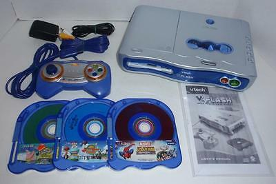 Vtech V.Flash Learning System -with 3 CDs, AC Adapter, A/V Cables & Controller