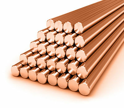 Copper Round Bar / Rod - 3mm - 25mm Diameter Milling / Welding / Metalworking