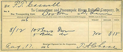 Connecticut and Passumpsic Rivers Railroad Co, Freight Bill, White Mountains