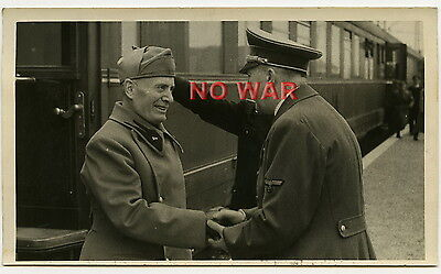 WWII ORIGINAL PHOTO POLITICAL LEADERS GERMANY & ITALY  MUSSOLINI MEETING