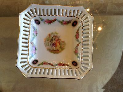 Vintage Square Reticulated Dish W/ Man & Woman Hand Painted Germany