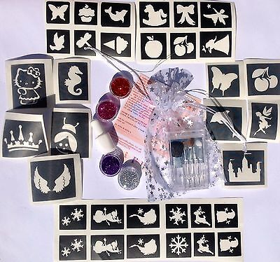 GLITTER TATTOO KIT for girls 34 stencils 4 glitters, 1 glue brushes prof qual UK