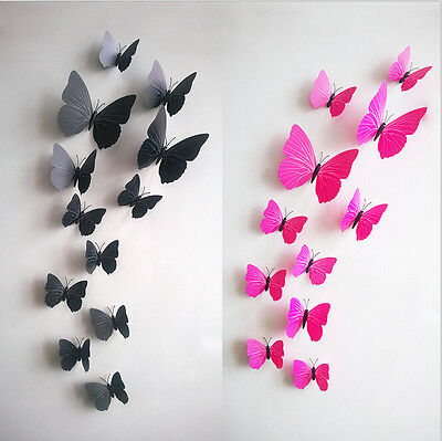 3D Butterfly Wall Sticker Decal Home Decor Decoration Art Room Rose Red