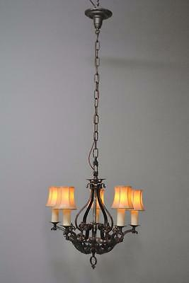Antique Five Arm Gothic Revival Chandelier in Wrought Iron