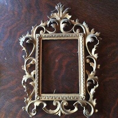 Antique Ornate Metal Mirror or Picture Frame
