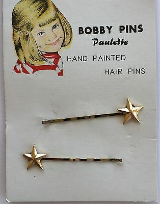 """Vintage Hair Pins - Small Gold Hand Painted """"Paulette"""" Star Bobby Pins"""