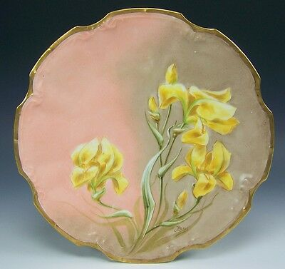 Lovely Limoges France Hand Painted Iris Plate