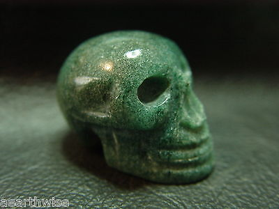 GREEN AVENTURINE CRYSTAL SKULL HAND CARVED Wicca Witch Pagan Spell Goth SAMHAIN