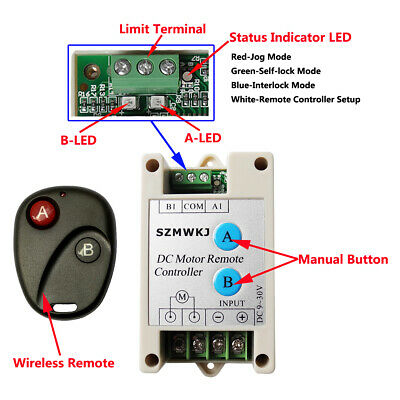 Switchable 9-30V Wireless Remote Controller for DC Motor DC Load Linear Actuator