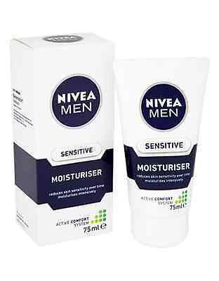 2 Nivea for Men Sensitive Moisturisers 75ml New Active Comfort System