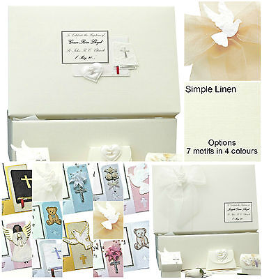 PERSONALISED Baptism/Christening LARGE Simple Linen Keepsake Box +/- extras