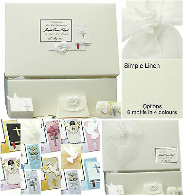 PERSONALISED Communion/Confirmation LARGE Simple Linen Keepsake Box +/- extras