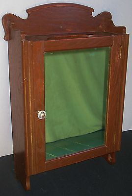 Antique Oak Wall Mount Medicine Cabinet Mirror Glass & Wood Shelves