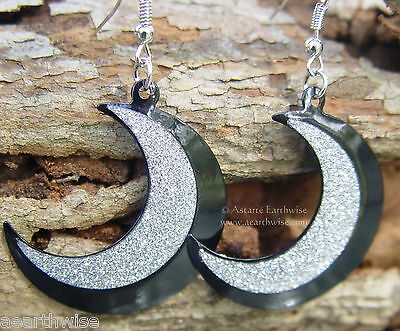 BLACK & SILVER CRESCENT MOON EARRINGS Wicca Witch Pagan Goth GODDESS