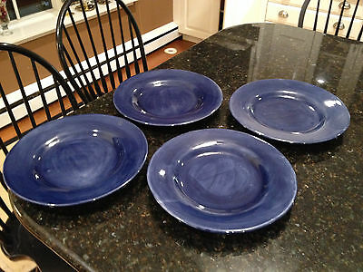 """Pottery Barn Sausalito Sapphire Blue 12"""" Dinner Plates, Mexico, (4 Available)"""