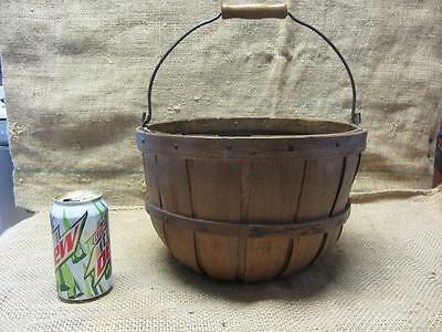 Vintage Apple 1/3? Bushel Basket RARE SIZE!   Antique Old Garden Kitchen 9325