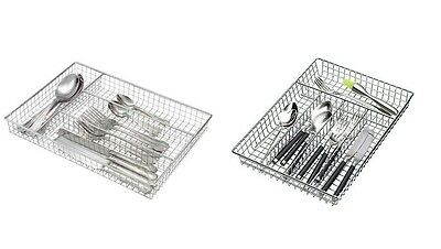 Metal Chrome Cutlery Tray Holder Drawer Organiser Storage Kitchen 4&5Compartment