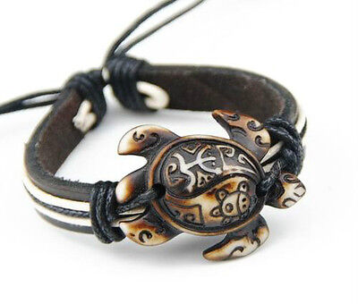Unisex leather  yin yang turtle bracelet. from TURTLE AMOR the all turtle store!