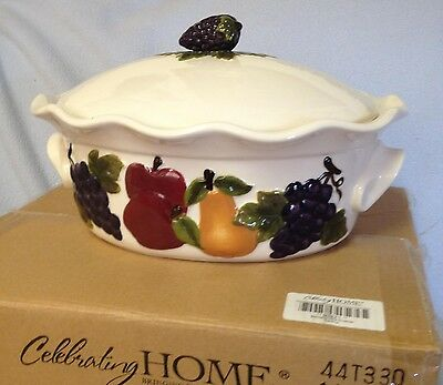 HOME INTERIORS $75.00 NEW SONOMA VILLA STONEWARE LG ROASTER 6 QTS. MINT IN BOX