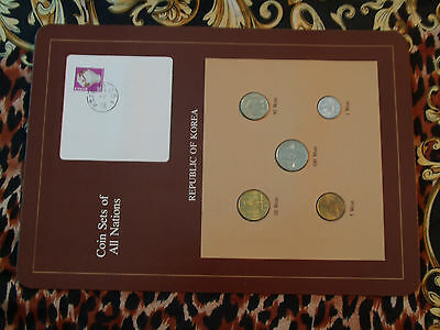 Coin Sets of All Nations Korea w/card 5 coin 1971 - 1983 UNC