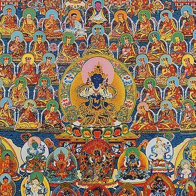 "48"" Silk Brocaded Golden Wood Scroll Tibetan Thangka: Refuge Tree Karma Kagyu"