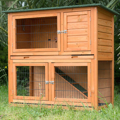 LARGE RABBIT HUTCH  w/ Pull Out Tray,  DOUBLE STOREY Guinea Pig Cage