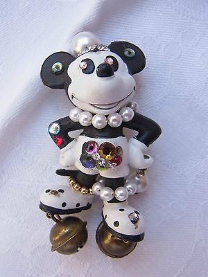 Vintage Design Strass Brosche Brooch Walt Disney Mickey Mouse Bully Nr.162