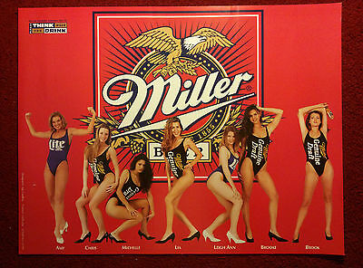 Sexy Girl Beer Poster Miller Genuine Draft ~ One Piece Swimsuit Models
