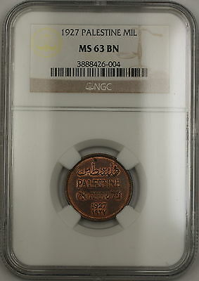 1927 Palestine 1 Mil Coin NGC MS-63 BN Brown (Red-Brown) (B)