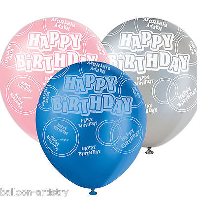Happy Birthday Pink Blue Black 6 Assorted Glitz Boy Girl Party Latex Balloons