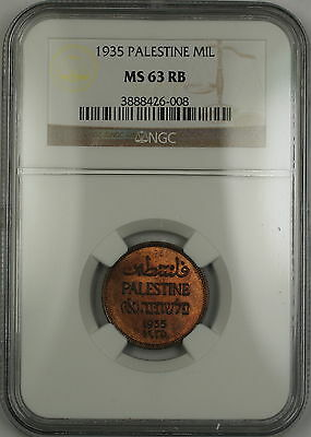 1935 Palestine 1 Mil NGC MS-63 RB Red-Brown (Better Coin)
